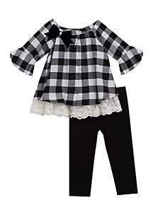 Infant Girls Black-White Checkered Ruffle Top with Lace Legging Set