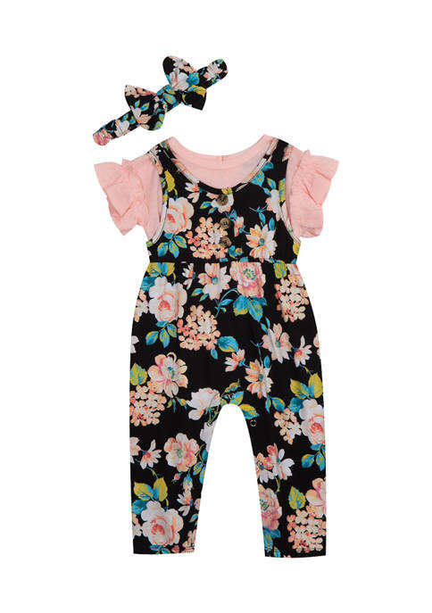 Baby Girls Floral Jumpsuit with Headband
