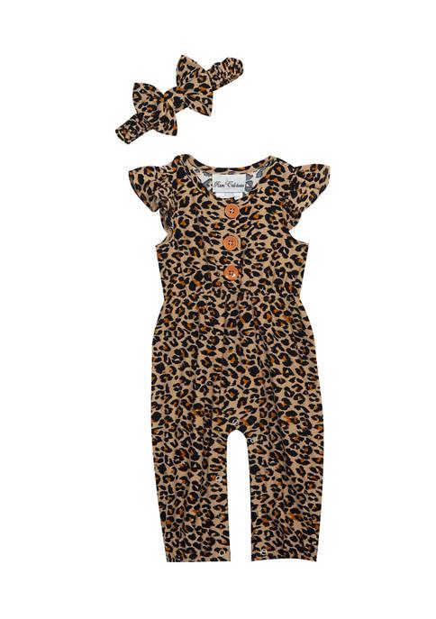 Baby Girls Short Sleeve Animal Print Jumpsuit