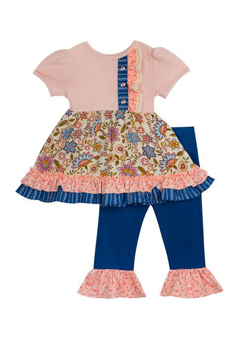 Baby Girls Short Sleeve Floral Leggings Set