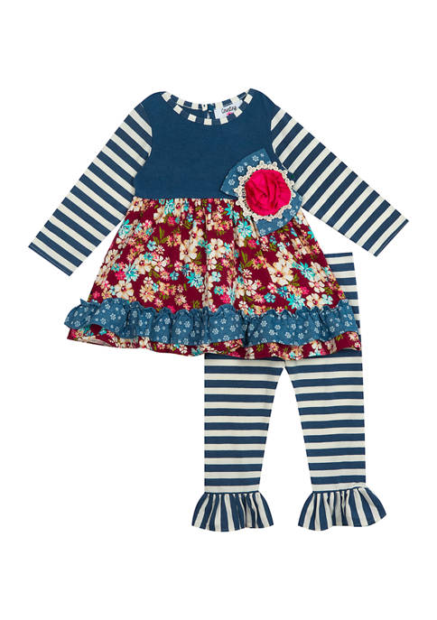 Rare Editions Baby Girls Blue and Maroon Patchwork