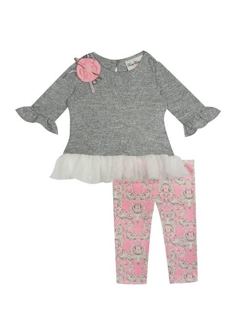 Baby Girls Pink Legging and Gray Top Set