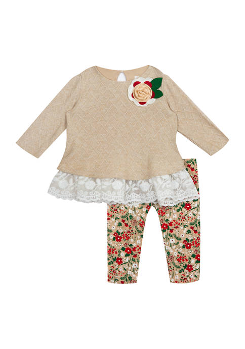 Baby Girls Taupe Patchwork Ruffle Top and Floral Leggings - 2 Piece Set