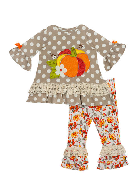 Baby Girls Taupe Printed Knit Dot Top and Floral Print Ruffle Leggings - 2 Piece Set