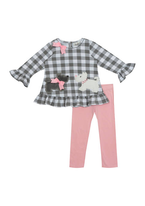 Baby Girls Plaid Dog Top and Leggings - 2 Piece Set