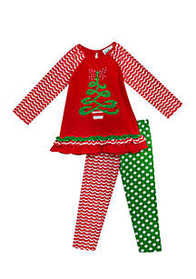 Girls Infant 2-Piece Christmas Top and Leggings Set