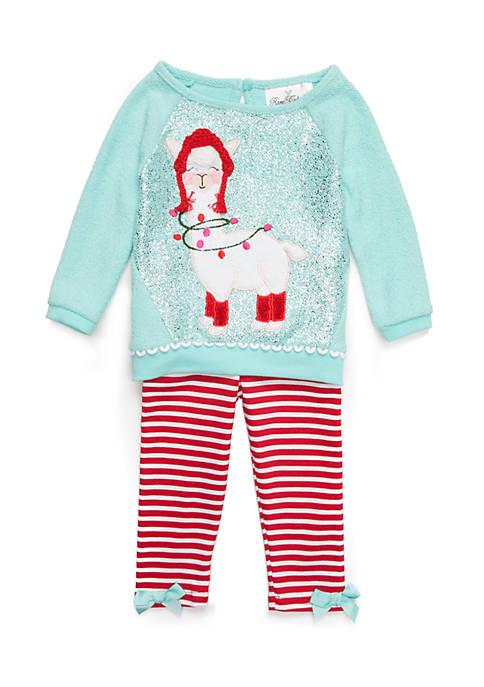 Baby Girls Christmas Llama Set