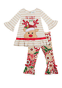 Baby Girls Reindeer Floral Set