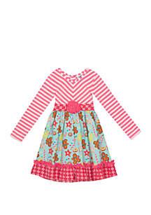 Toddler Girls Pink Gingerbread Mixed Media Dress