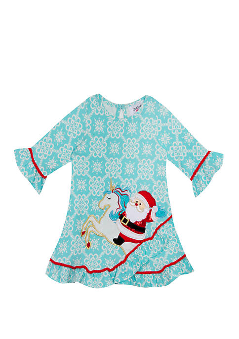 Counting Daisies Toddler Girls Santa Sleigh Dress