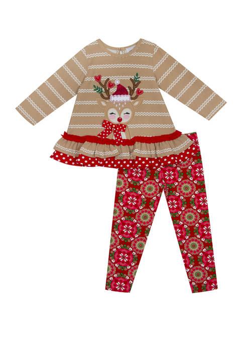 Rare Editions Toddler Girls Reindeer Leggings Set