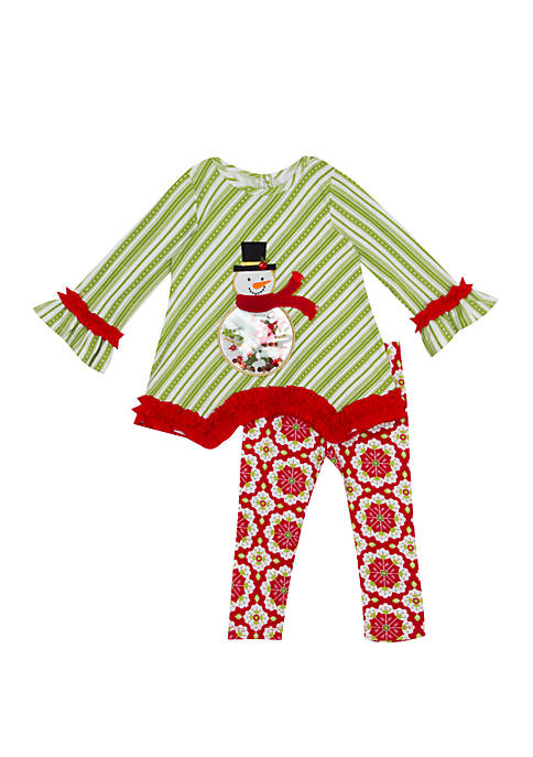 Rare Editions Toddler Girls Snowman Stripe Top and