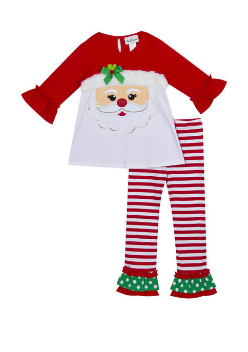 Rare Editions Toddler Girls Santa Leggings Set