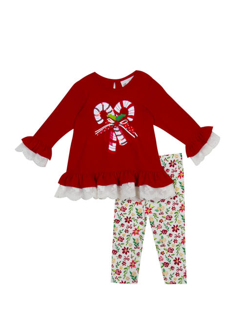 Rare Editions Toddler Girls Candy Cane Leggings Set