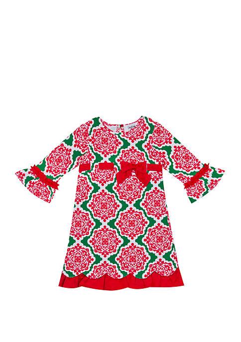 Rare Editions Toddler Girls Printed Holiday Dress