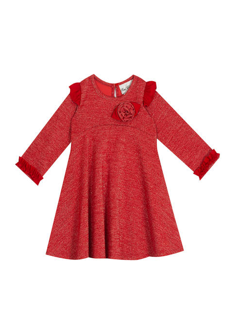 Rare Editions Toddler Girls Red Knit Rosette Dress
