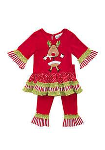 Toddler Girls Reindeer Santa Tutu Set