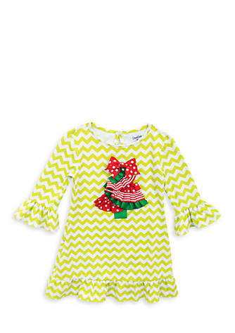 Rare Editions Christmas Toddler.Rare Editions Chevron Christmas Tree Dress Toddler Girls Belk