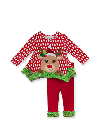 5a64250acc771d Rare Editions Christmas Tree and Reindeer Applique Tunic & Leggings ...