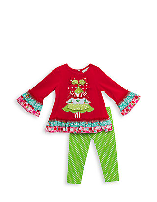Rare Editions Christmas Toddler.Rare Editions 2 Piece Christmas Tree Ruffle Tunic And Leggings Set Toddler Girls