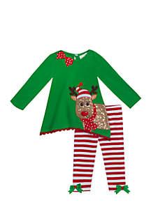 2-Piece Reindeer Top and Leggings Set Toddler Girls