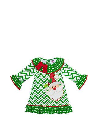 48dfed2bd4807 Rare Editions. Rare Editions Toddler Girls Green Chevron Santa Dress