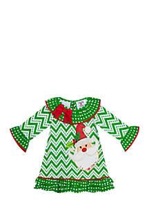 Toddler Girls Green Chevron Santa Dress