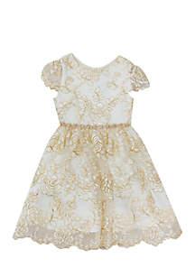 Toddler Girls Gold Rose Overlay Social Dress