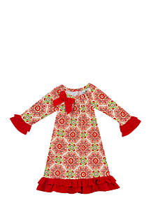 Toddler Girls Red Green Floral Dress