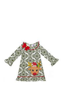 Toddler Girls Reindeer Green Print Dress