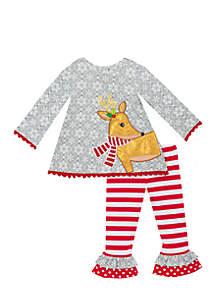 Toddler Girls Grey Red Reindeer Set