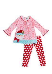 Toddler Girls Santa Dot Legging Set