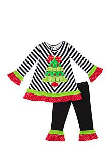 Toddler Girls Tree Stripe Set