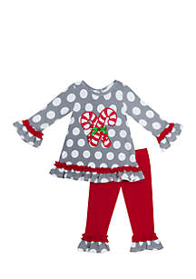 Toddler Girls Grey Candy Cane Dot Set