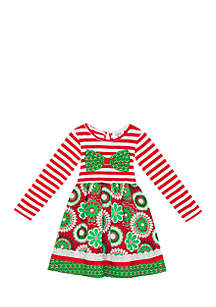Toddler Girls Red Green Mixed Media Dress with Bow