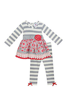 Toddler Girls Grey Red Stripe Mixed Media Set