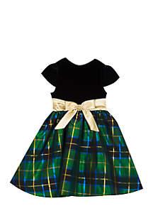 Toddler Girls Short Sleeve Green Plaid Bow Waist Dress
