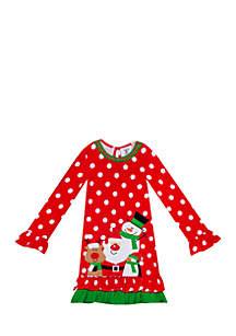 Toddler Girls Red Dot Snowman Friends Dress