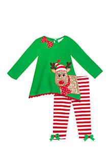 Toddler Girls Reindeer Stripe Legging Set