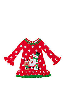 Baby Girls Dot Santa and Friends Dress