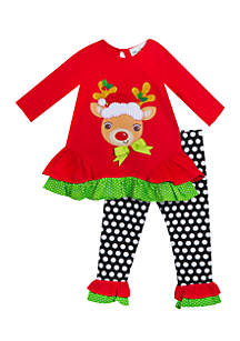 Infant Girls Knit Top with Reindeer Applique Legging Set