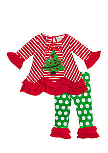 Infant Girls Red-White Stripe Tree to Green Dot Legging Set