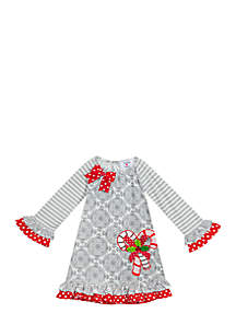 Infant Girls Gray-White Tile to Stripe Print Dress