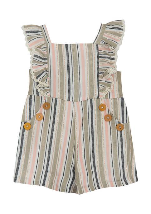 Baby Girls Woven Stripe Romper