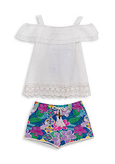Rare Editions 2-Piece Crochet Top and Floral Short Set