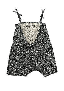 Rare Editions Baby Girls Printed Romper with Lace