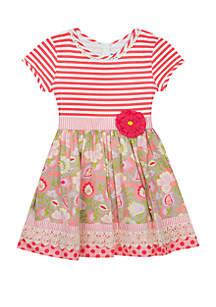 Rare Editions Baby Girls Stripe Printed Dress