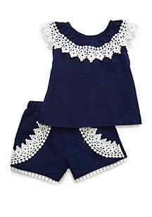 Rare Editions Baby Girls Navy Seersucker Set