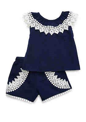 8f207cc626b2 Rare Editions Baby Girls Navy Seersucker Set ...