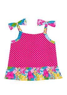Jumping Fences by Rare Editions Baby Girls Fuchsia White Dot Top